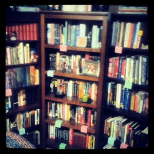 This is only half of our books. The other half is in Mister's office with a few random piles here and there.