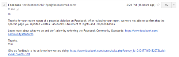 My own response after reporting a Facebook community page featuring underage nudity and pornography.