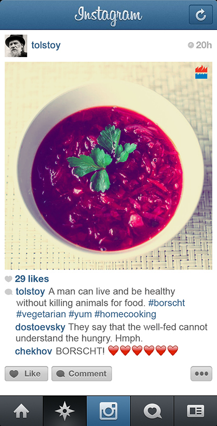 Tolstoy borscht Instagram
